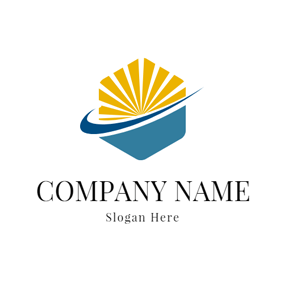 Blue Sea and Yellow Ray logo design
