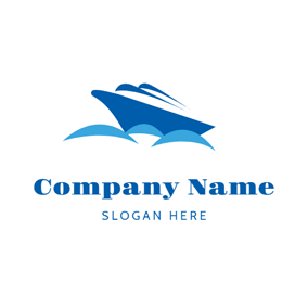 Blue Sea Wave and Steamship logo design