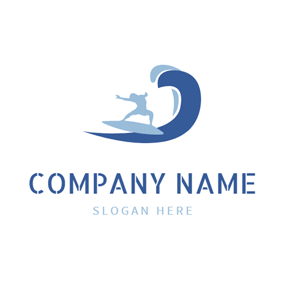 Blue Sea Wave and Surfer logo design