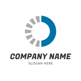 Blue Semicircle and Half Disconnected Grey Round logo design