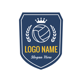Blue Shield and White Volleyball logo design