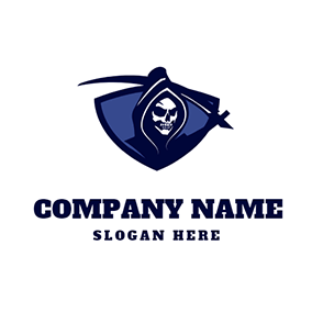 Blue Shield Cloak Skull Reaper logo design