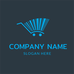 Blue Shopping Cart logo design
