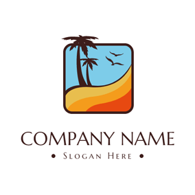 Blue Sky and Brown Coconut Tree logo design