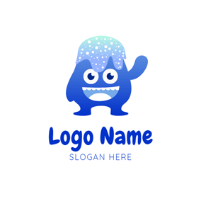 Blue Slime Monster logo design
