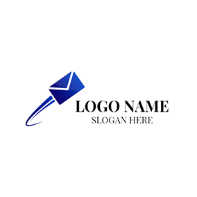 Blue Speed and Envelope logo design