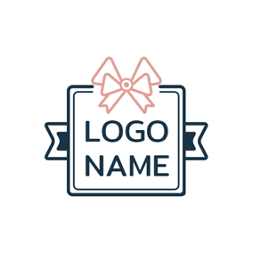 Blue Square and Beautiful Bowknot logo design