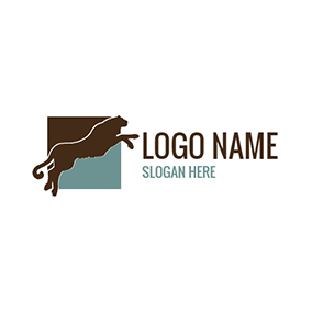 Blue Square and Brown Tiger logo design