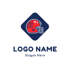 Blue Square and Football Glove logo design