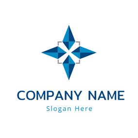 Blue Square and Star logo design
