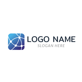 Blue Square and White Net logo design