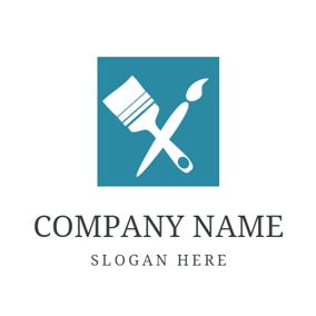 Blue Square and White Paint Bush logo design