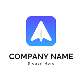 Blue Square and White Paper Airplane logo design