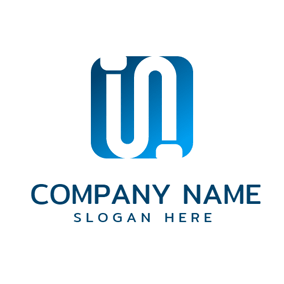 Blue Square and White Pipe logo design