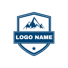 Blue Star and Mountain Peak logo design