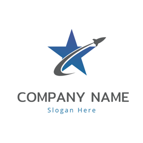Blue Star and Rocket logo design
