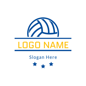 Blue Star and Volleyball logo design