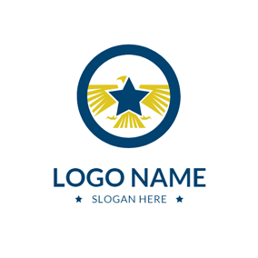 Blue Star and Yellow Eagle logo design