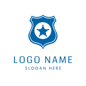Blue Star Police Badge logo design