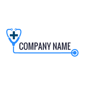Blue Stethoscope and Cross logo design