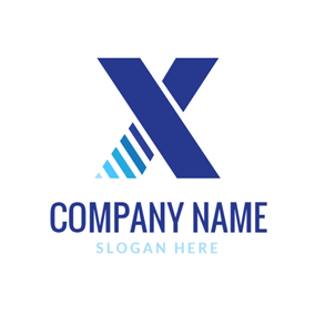 Blue Stripe and Letter X logo design