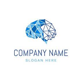 Blue Structure and Abstract Brain logo design