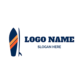 Blue Surfboard and Paddle logo design