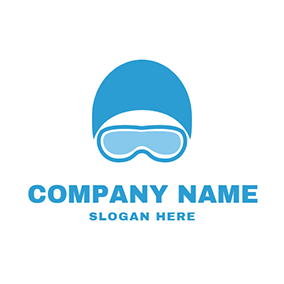 Blue Swimming Cap and Goggle logo design