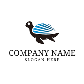 Blue Tortoise Shell and Turtle logo design