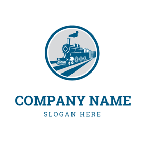 Blue Train and Railway logo design