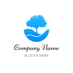 Blue Tree and Stream logo design