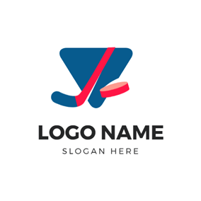 Blue Triangle and Hockey Stick logo design