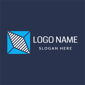 Blue Triangle and Striped Rhombus logo design