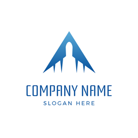 Blue Triangle and White Airplane logo design