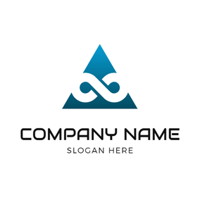 Blue Triangle and White Infinity logo design