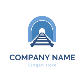 Blue Tunnel and Railway logo design