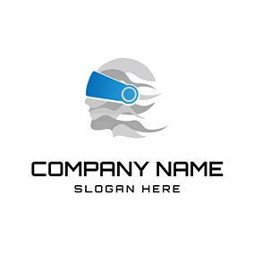 Blue Vr Glasses and Human logo design