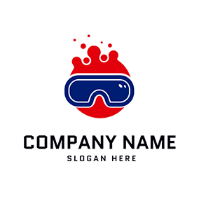 Blue Vr Glasses and Red Bubble logo design