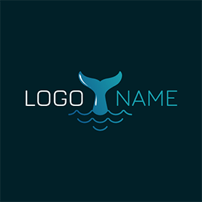 Blue Water and Whale Tail logo design