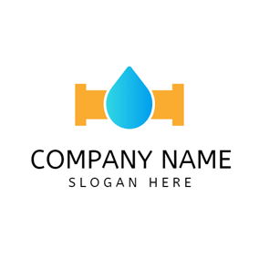 Blue Water Drop and Plumbing logo design