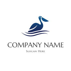 Blue Water Wave and Pelican logo design