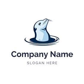 Blue Water Wave and Seal logo design
