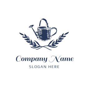 Blue Watering Can and Garden logo design