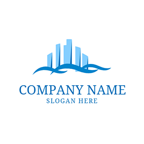 Blue Wave and Building logo design