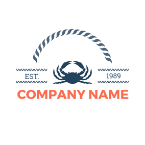 Blue Wave and Crab logo design