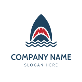 Blue Wave and Teeth Bared Shark logo design