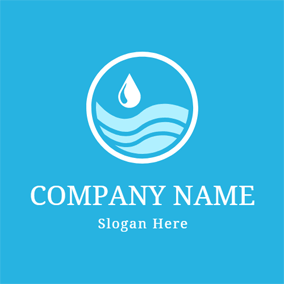 Blue Wave and White Water Drop logo design