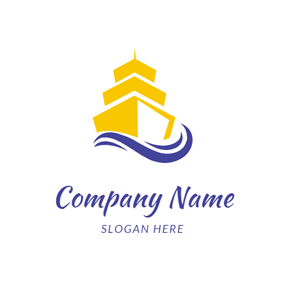 Blue Wave and Yellow Steamship logo design