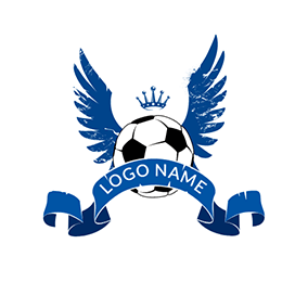 Blue Wing and Black Football logo design