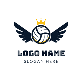 Blue Wing and White Volleyball logo design